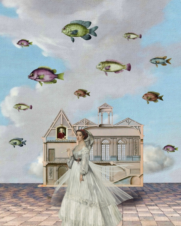 Edwardian woman with floating fishes and house.